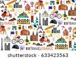 france seamless pattern. france ... | Shutterstock .eps vector #633423563