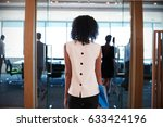 rear view of businesswoman... | Shutterstock . vector #633424196