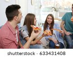 friends eating tasty pizza at... | Shutterstock . vector #633431408