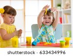 little kids have a fun together ... | Shutterstock . vector #633434996