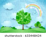 surreal landscape with hanging... | Shutterstock .eps vector #633448424