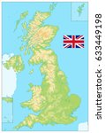 united kingdom physical map. no ... | Shutterstock .eps vector #633449198