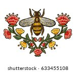 Bee And Flowers Embroidery....