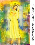 an angel or archangel with... | Shutterstock . vector #633463343