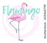 vector pink flamingo bird... | Shutterstock .eps vector #633463799