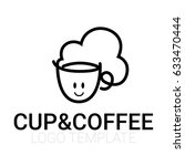 line drawing of cup of coffee... | Shutterstock .eps vector #633470444