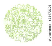 ecology line icon circle design.... | Shutterstock .eps vector #633473108