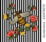 bee and flowers embroidery.... | Shutterstock .eps vector #633478370
