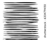 Abstract long thin black ink strokes set isolated on a white background