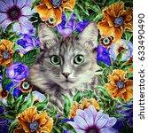 Kitten Face Framed Floral...