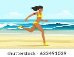 young woman in sporting clothes ... | Shutterstock .eps vector #633491039