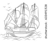 hand drawn old ship with birds. ... | Shutterstock .eps vector #633491528