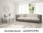 white empty room with green... | Shutterstock . vector #633491990