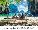 beautiful woman in bikini... | Shutterstock . vector #633495740