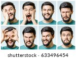 set of young man's portraits... | Shutterstock . vector #633496454