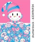 cartoon christmas snowman | Shutterstock .eps vector #633496934