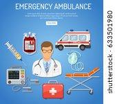 medical emergency ambulance... | Shutterstock .eps vector #633501980