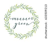 olive leaves wreath with... | Shutterstock .eps vector #633509213