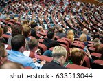 audience listens to the speech... | Shutterstock . vector #633513044