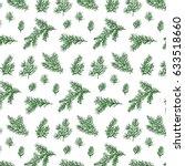 hand drawn doodle fir branches... | Shutterstock .eps vector #633518660