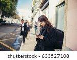 female traveller holding and...   Shutterstock . vector #633527108