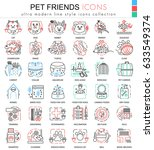 Stock photo  pet friend color line outline icons for apps and web design home animal pet icons 633549374