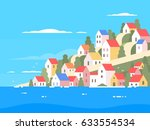 houses on coast of greece | Shutterstock .eps vector #633554534