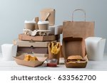 yummy french fries  chicken... | Shutterstock . vector #633562700