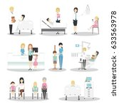 children in hospital set.... | Shutterstock . vector #633563978