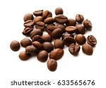 roasted coffee beans isolated... | Shutterstock . vector #633565676