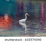 Small photo of Great white egret American egret, Egretta alba hunting for small fish in a mountain pond with clear water. Bill as throwing spear, bird kills fish with lightning speed. Beautiful glare and reflections