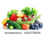organic fruits and vegetables... | Shutterstock . vector #633575834