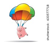 pink cartoon pig landing with... | Shutterstock .eps vector #633577718