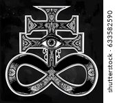 ornate satanic cross with evil... | Shutterstock .eps vector #633582590