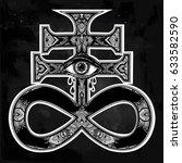 ornate satanic cross with evil... | Shutterstock .eps vector #633582590