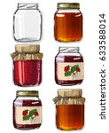 set jars for jam  empty cans ... | Shutterstock .eps vector #633588014