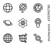 globe icons set. set of 9 globe ... | Shutterstock .eps vector #633590780