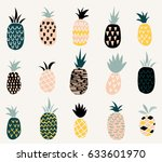 set of of cute pineapples with... | Shutterstock .eps vector #633601970