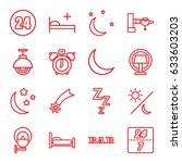 night icons set. set of 16... | Shutterstock .eps vector #633603203