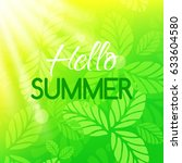 hello summer card. vector... | Shutterstock .eps vector #633604580