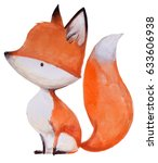 cute watercolor fox on white... | Shutterstock . vector #633606938