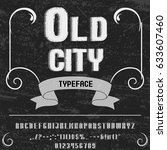 font handcrafted vector old city | Shutterstock .eps vector #633607460