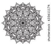 hand drawn monochrome oriental... | Shutterstock .eps vector #633611174