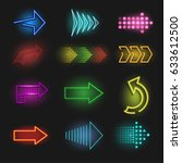 realistic neon arrow on a dark... | Shutterstock .eps vector #633612500