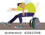 teenager sleeping at the desk... | Shutterstock .eps vector #633612548