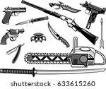 guns  pistol and revolver....   Shutterstock .eps vector #633615260