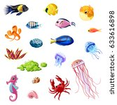 cartoon colorful sea life set... | Shutterstock .eps vector #633616898