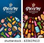 grocery  food shop  supermarket ... | Shutterstock .eps vector #633619613