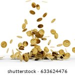 falling gold coins isolated on...