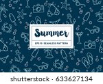 hand drawn summer elements and... | Shutterstock .eps vector #633627134